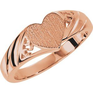Engravable Heart Signet Ring