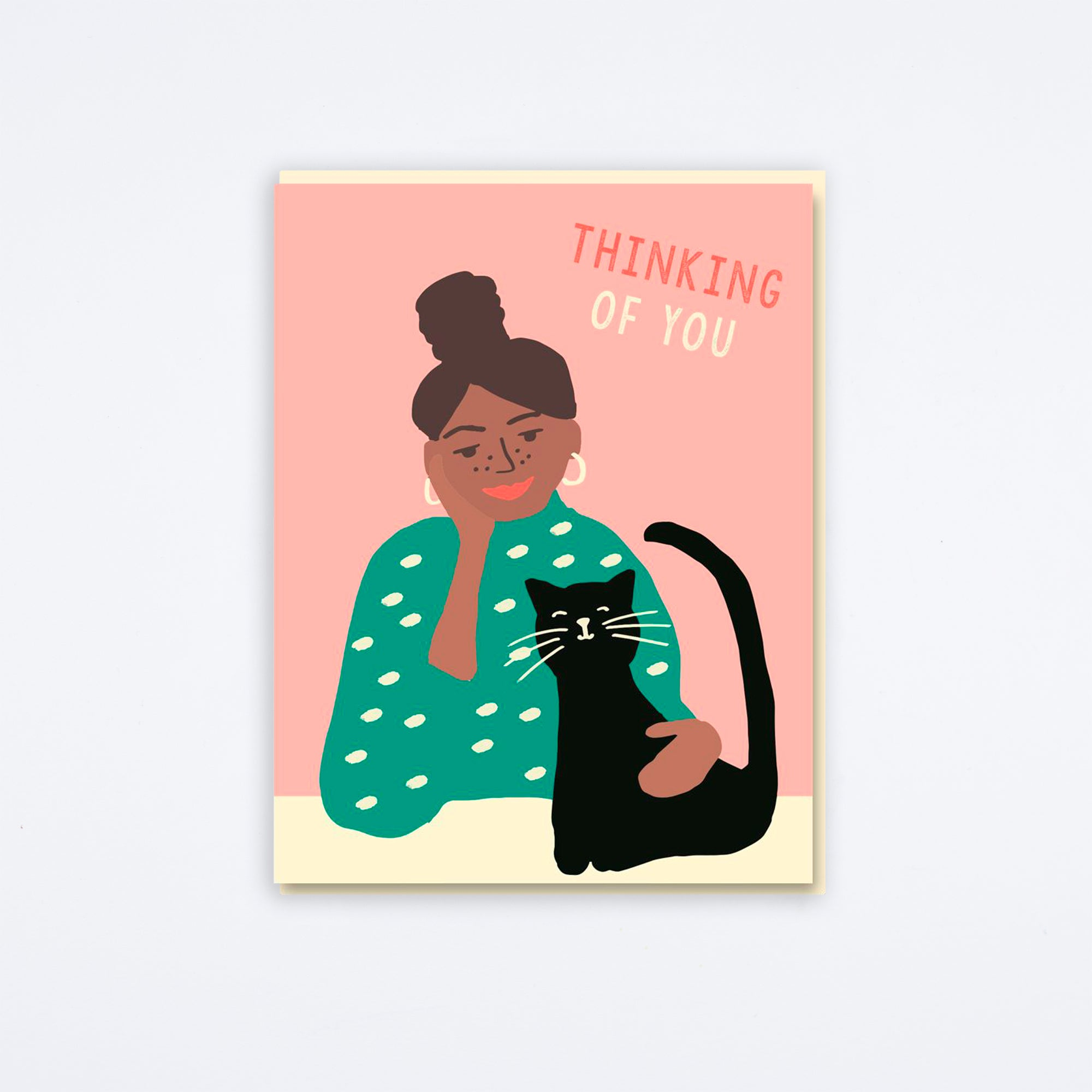 Cat Girl Thinking of You Card