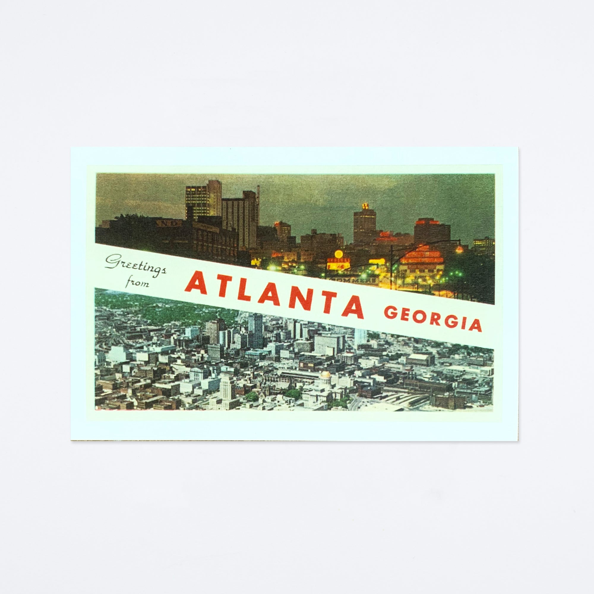 City Split Greetings from Atlanta Postcard