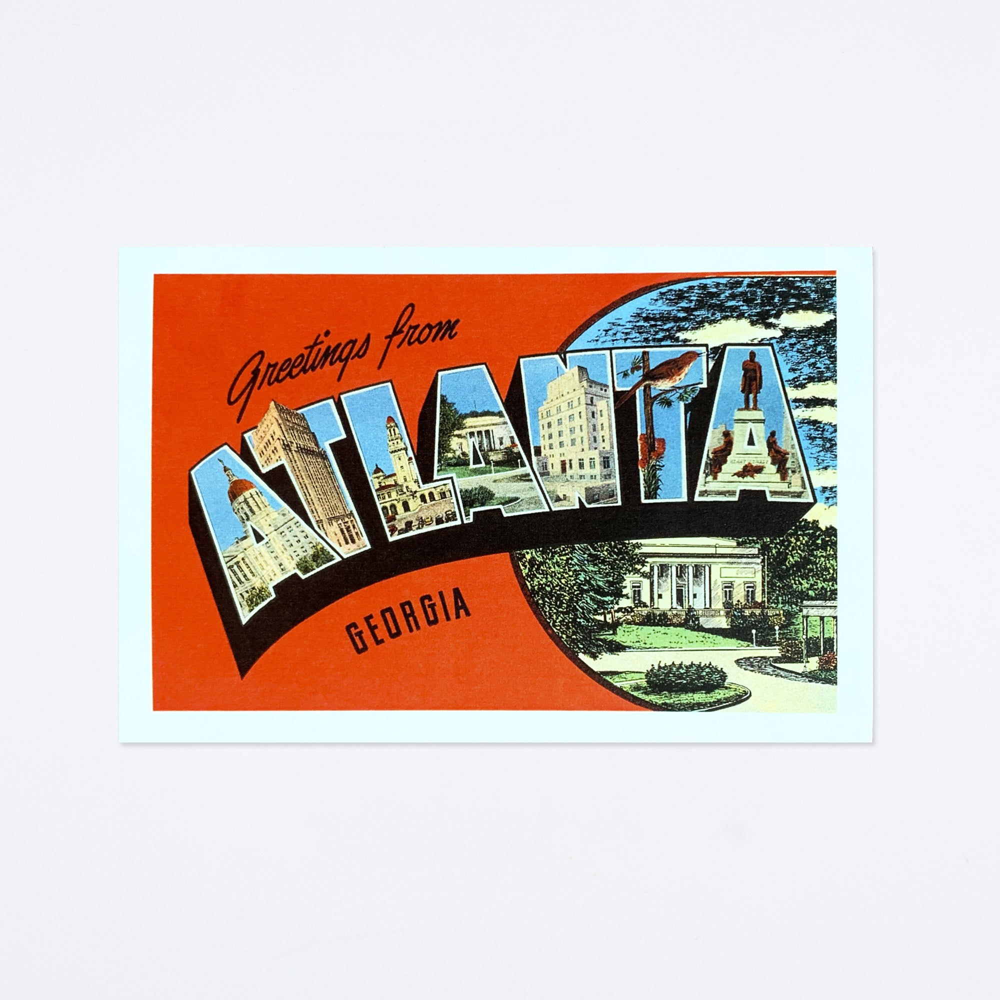 Red Greetings from Atlanta Postcard