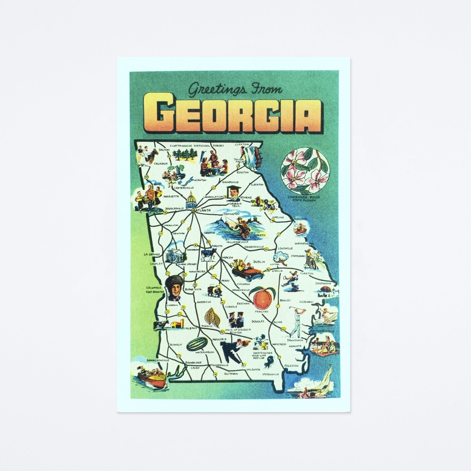 Greetings from Georgia Map Postcard