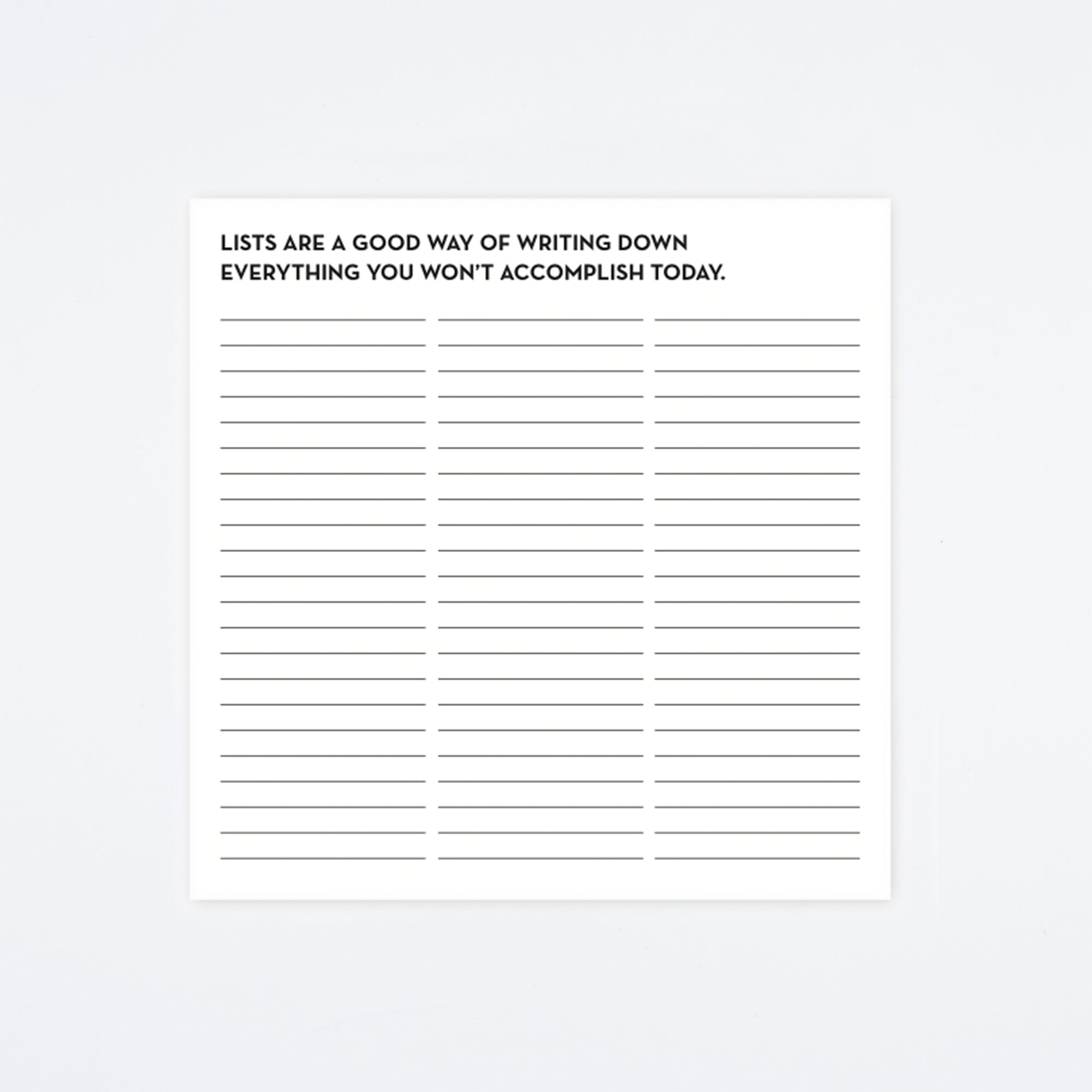Won't Accomplish List-a-Lot Pad