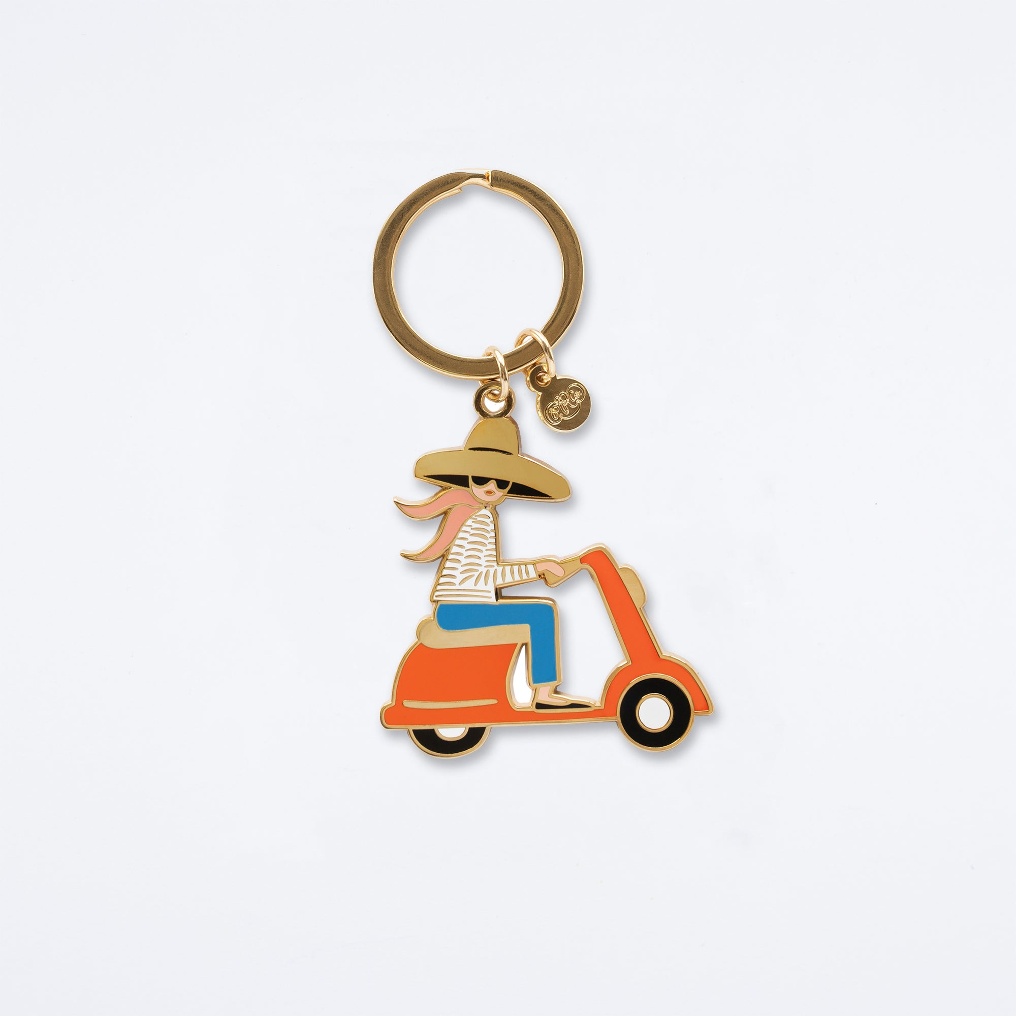 Scooter Girl Enamel Keychain