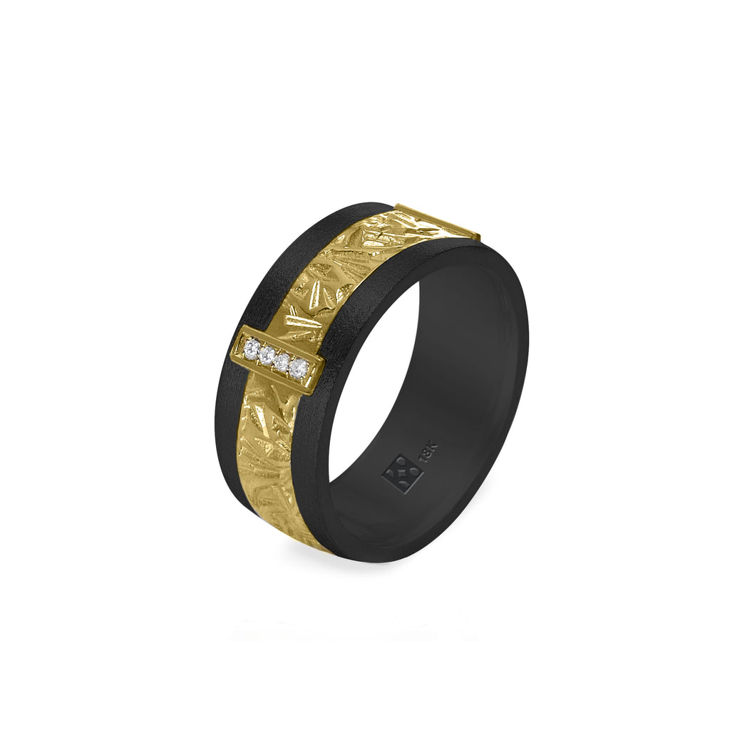 18K Black & Yellow Unisex Band with Diamonds