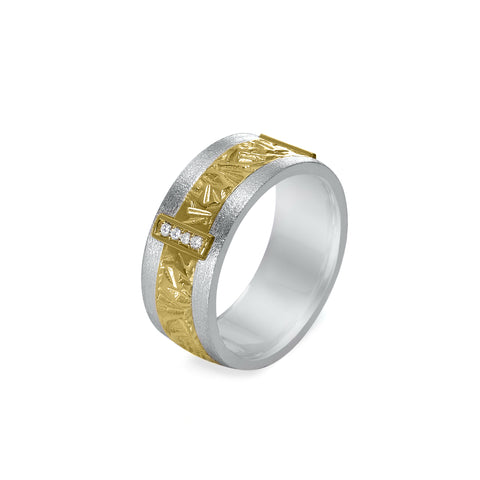 18K Wide Gold Unisex Band - 2-Tone with Diamonds