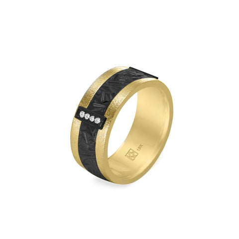 18K Yellow Gold & Diamond Unisex Band with Black