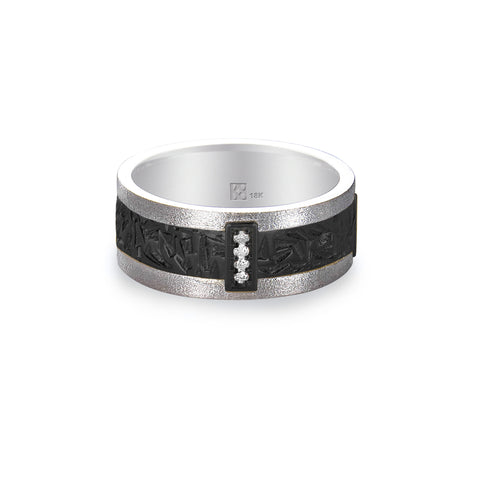 18K White Gold Diamond & Black Crystal Unisex Band