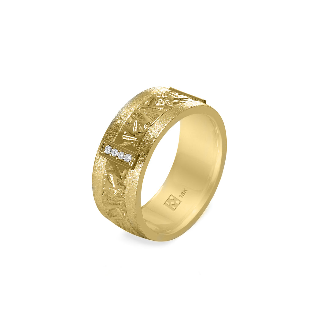 18K Yellow Gold & Diamond Unisex Band