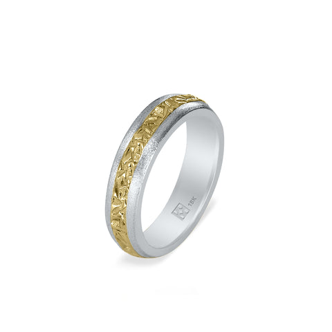 18K Narrow Gold Unisex Band - 2-Tone