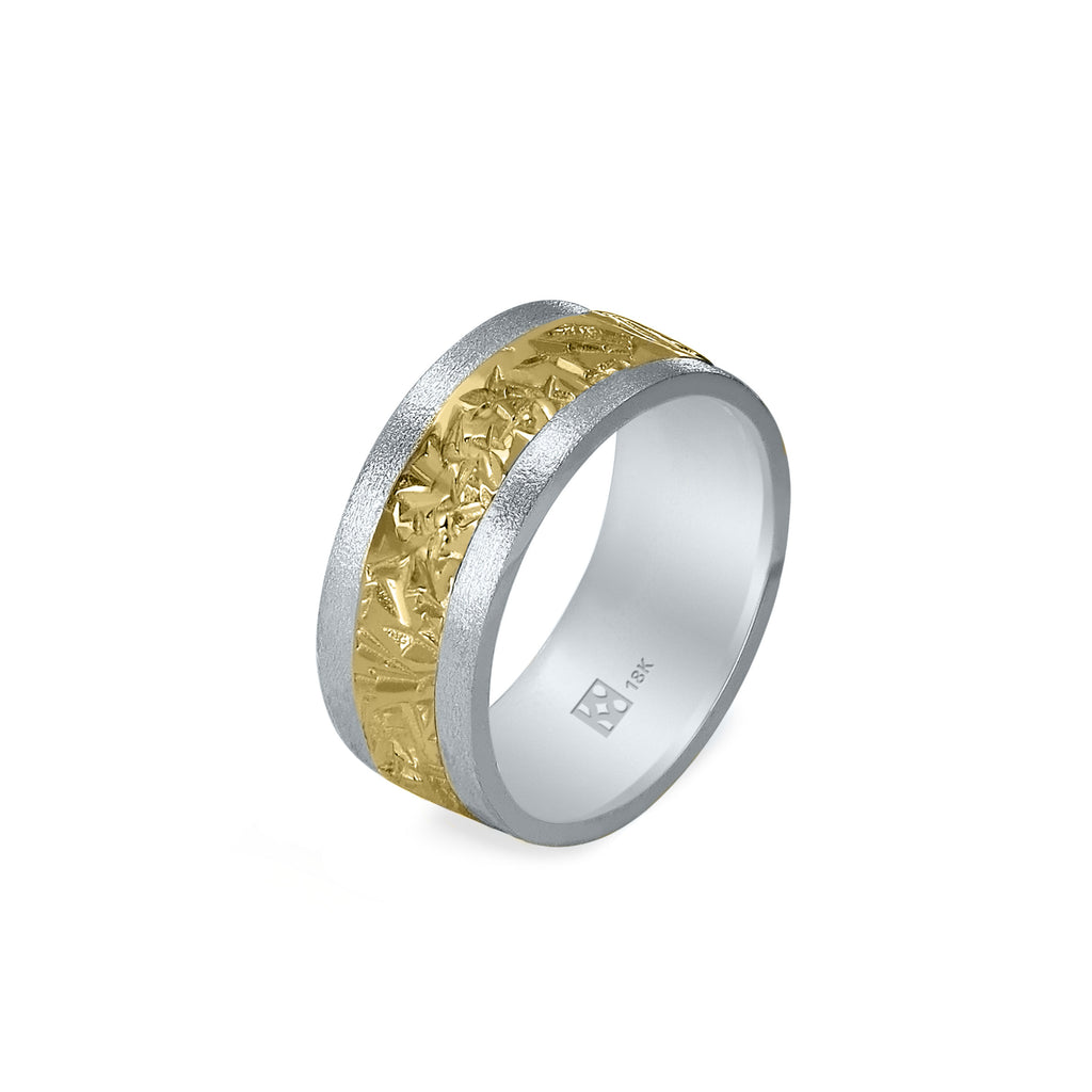 18K Wide Gold Unisex Band - 2-Tone
