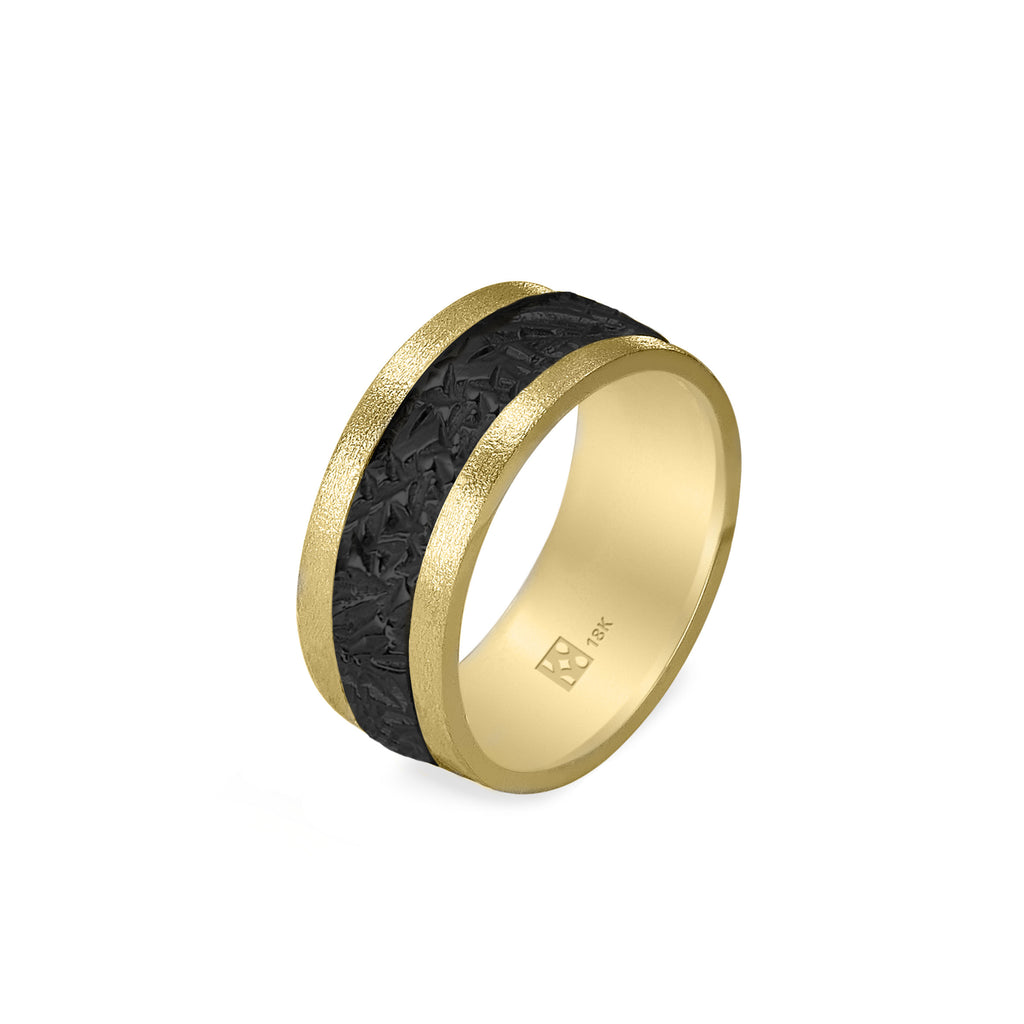 18K Yellow Gold & Black Crystal Wide Unisex Band