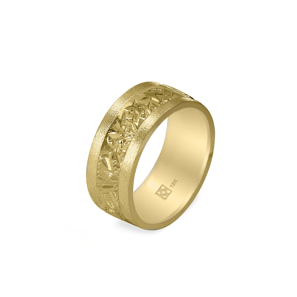 18K Yellow Gold Wide Unisex Band