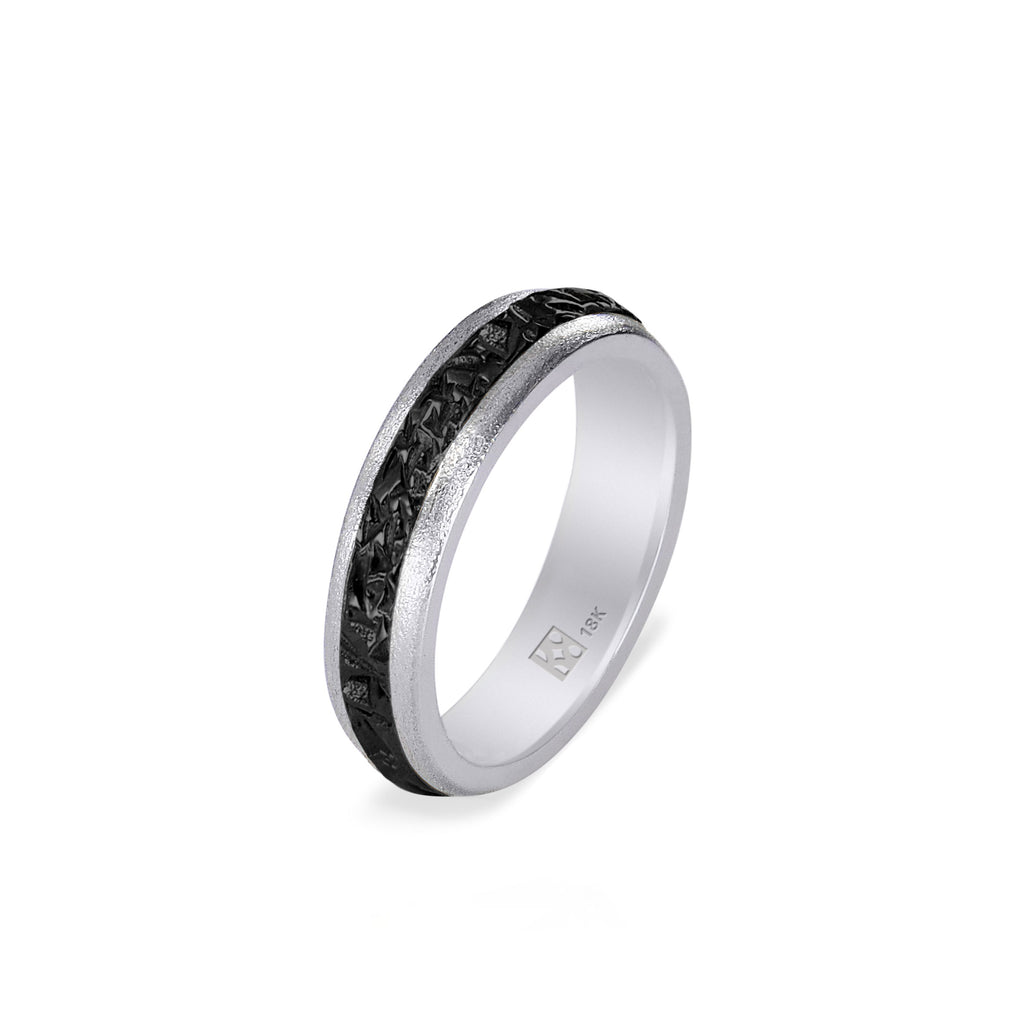 18K Narrow White Gold & Black Crystal Unisex Band