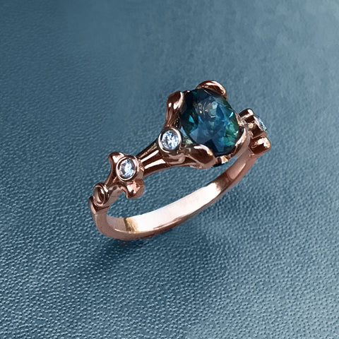 18K Rose Gold Ring with Australian Sapphire
