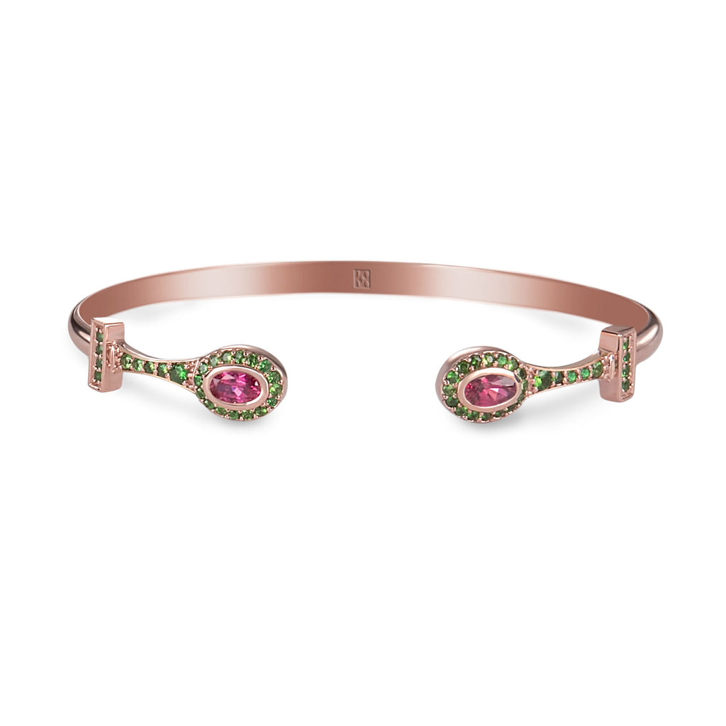 Pink Gold Stackable Bracelet with Colored Gemstones