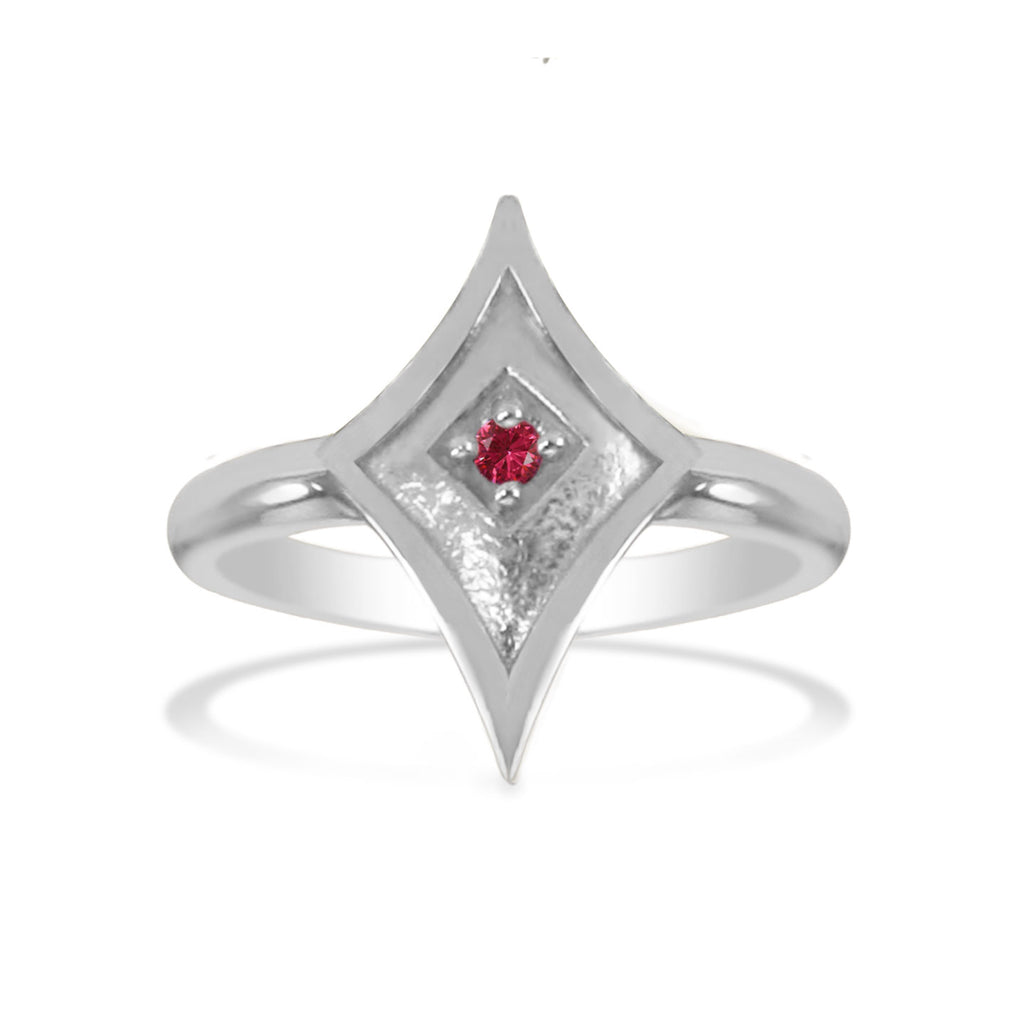 14K White Gold Shield Ring with Ruby