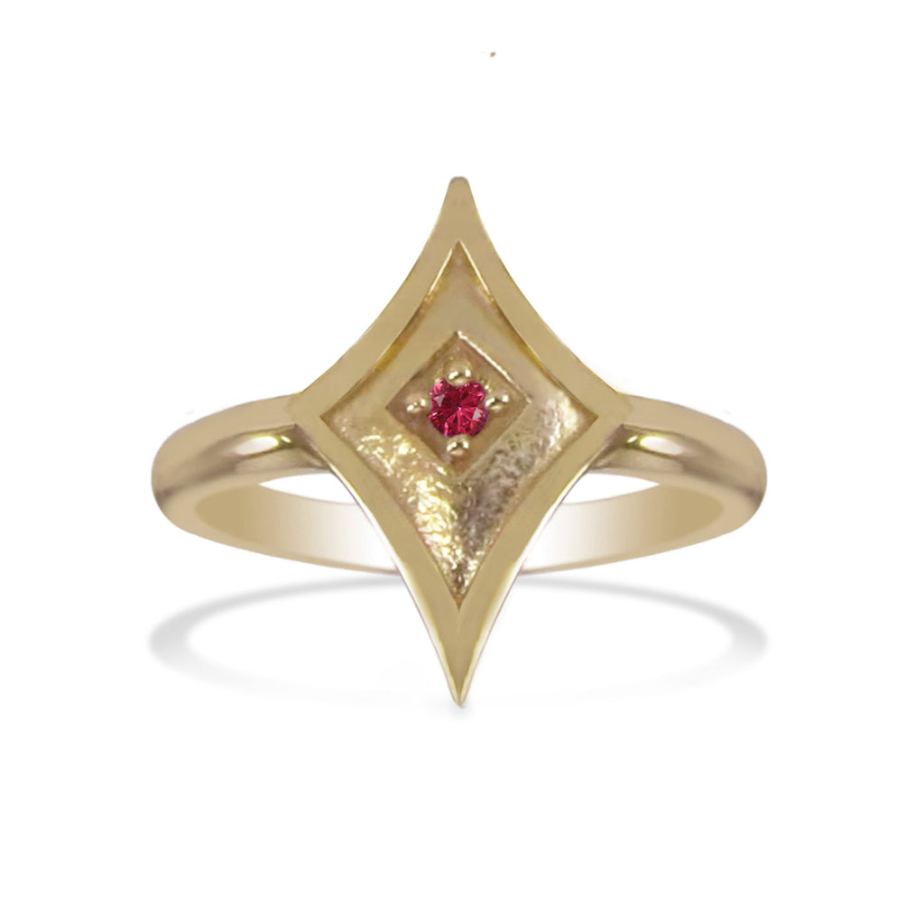 Yellow Gold Shield Ring with Ruby