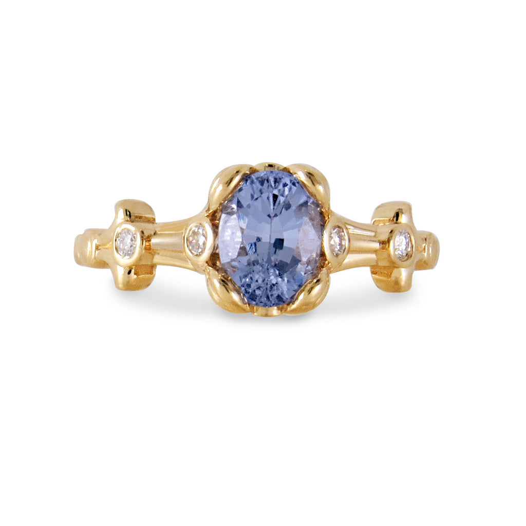 18K Yellow Gold Ring with Periwinkle Sapphire