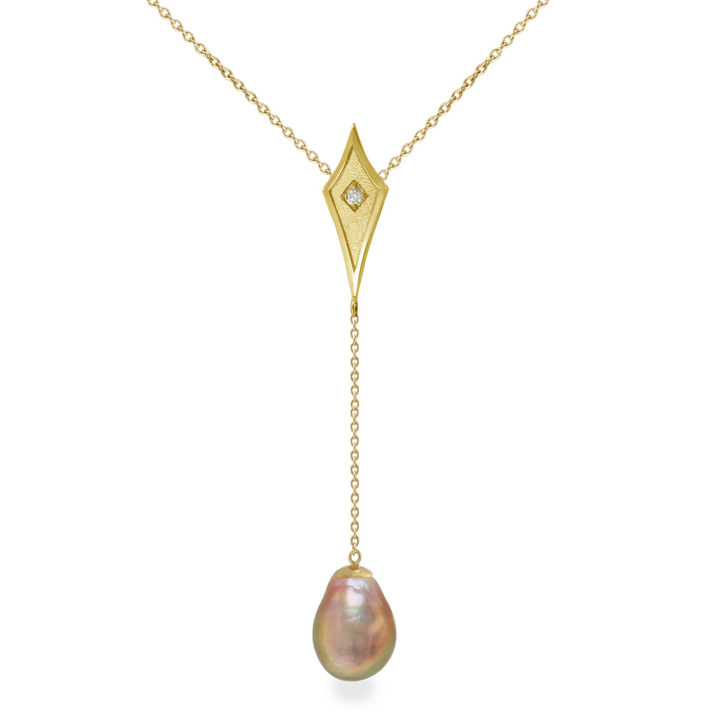 14K Yellow Gold Y Necklace with Kasumiga Pearl