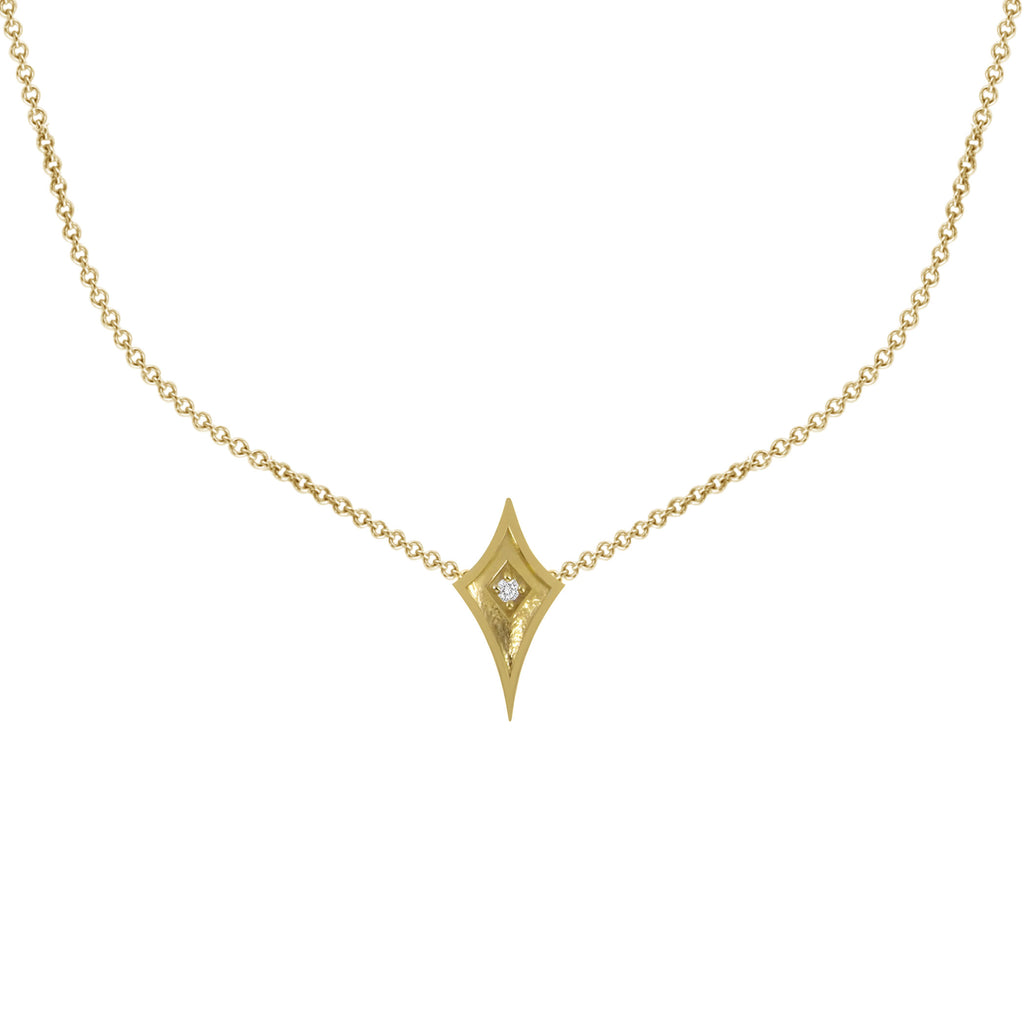 14K Yellow Gold Shield Necklace with Diamond