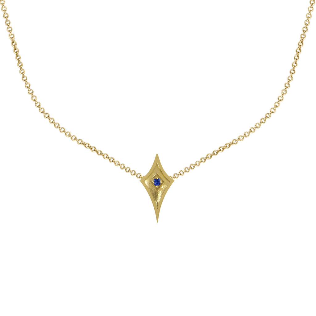 14K Yellow Gold Shield Necklace with Blue Sapphire