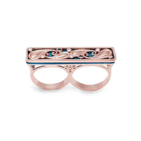 18K Rose Gold Paisley Double Ring