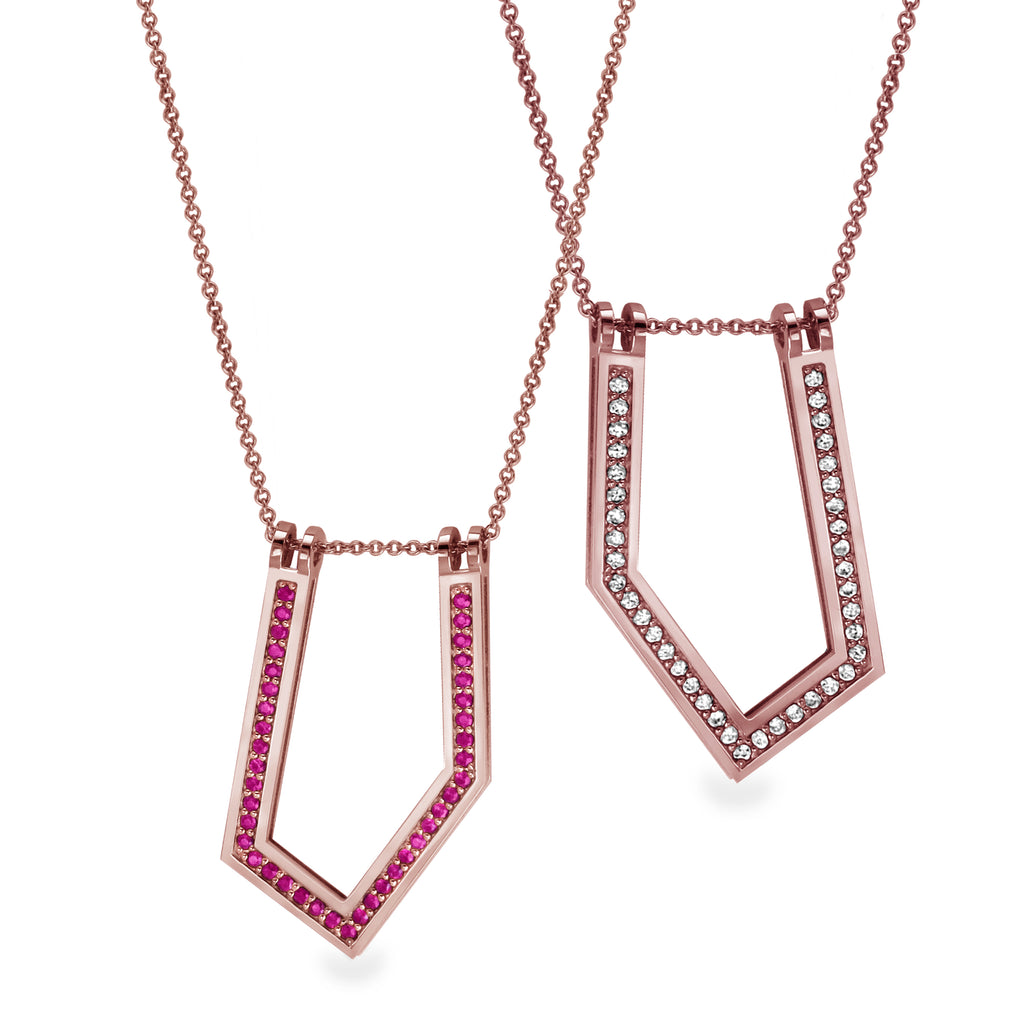 Gold Necklace with Diamonds & Rubies