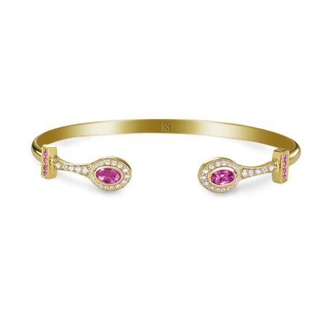 Yellow Gold Stackable Bracelet with Pink Sapphires & Diamonds
