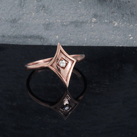 Pink Gold Shield Ring with Diamond or Gemstone