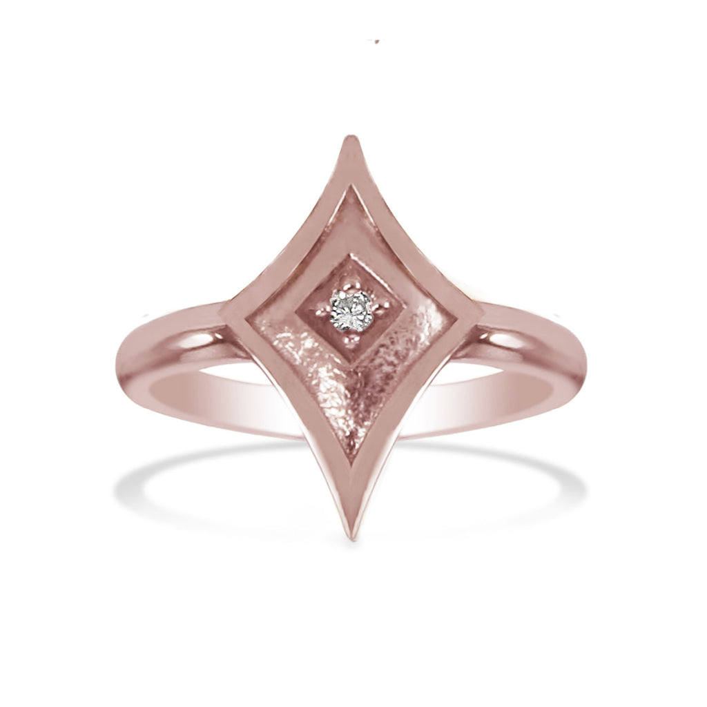 14K Pink Gold Shield Ring with Diamond (sm)