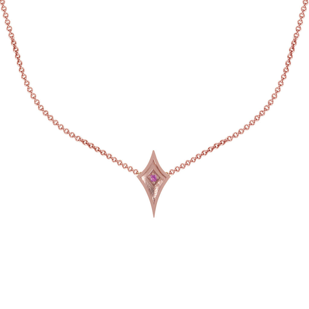 14K Rose Gold Shield Necklace with Soft Pink Sapphire