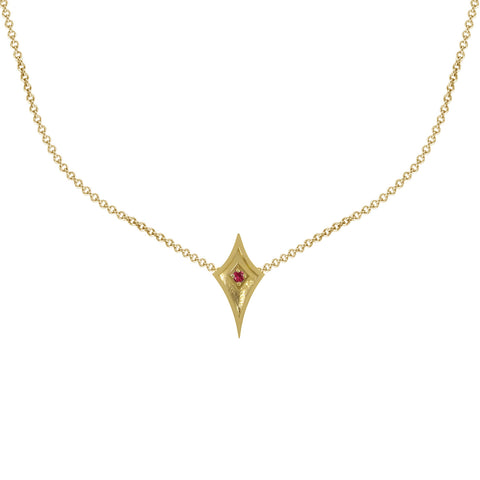 Yellow Gold Shield Necklace with Ruby