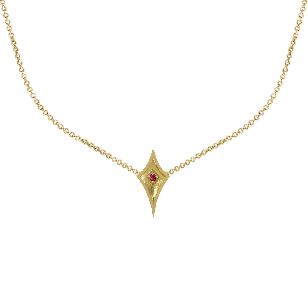 18K Gold Shield Necklace with Ruby