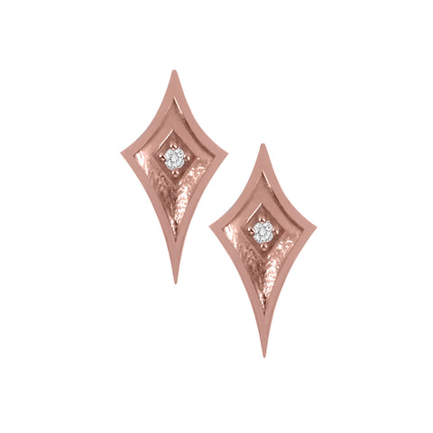 Rose Gold Shield Studs with Diamond