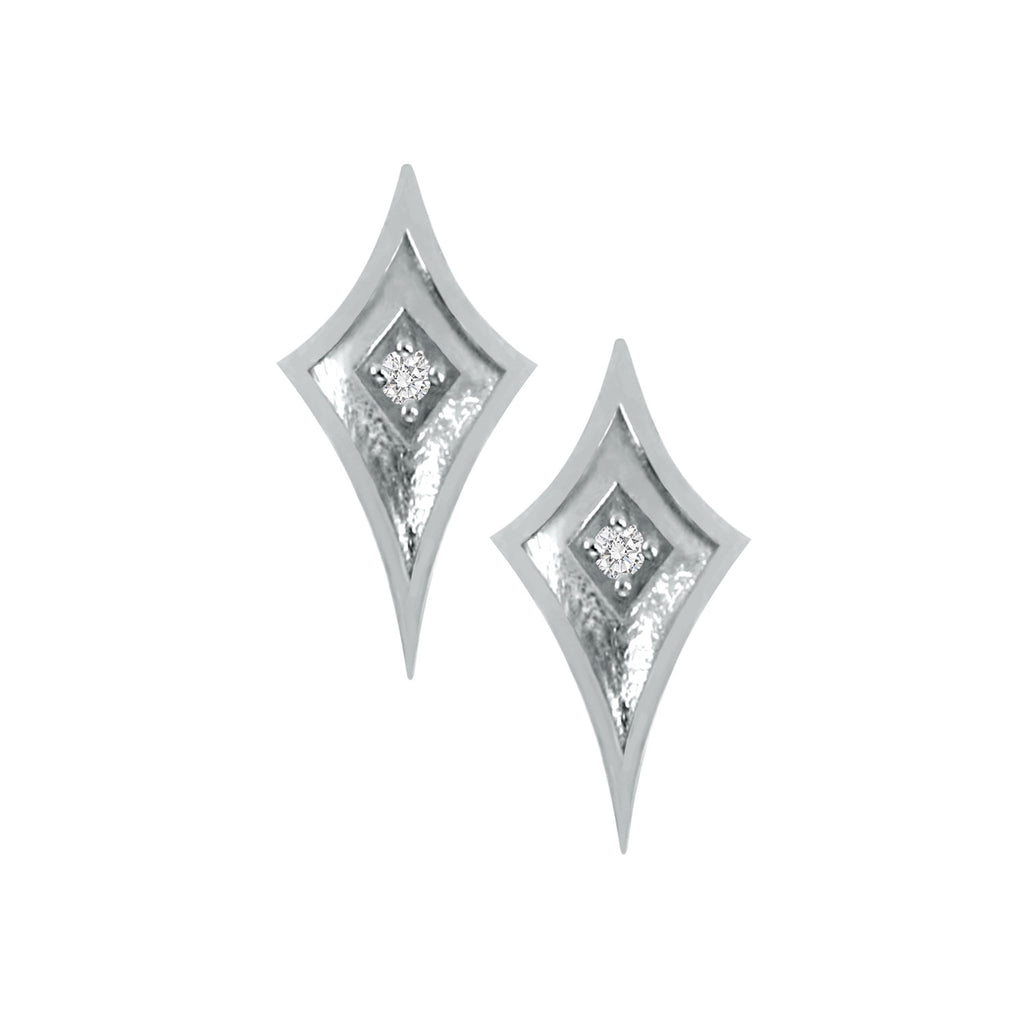 White Gold Shield Studs with Diamond