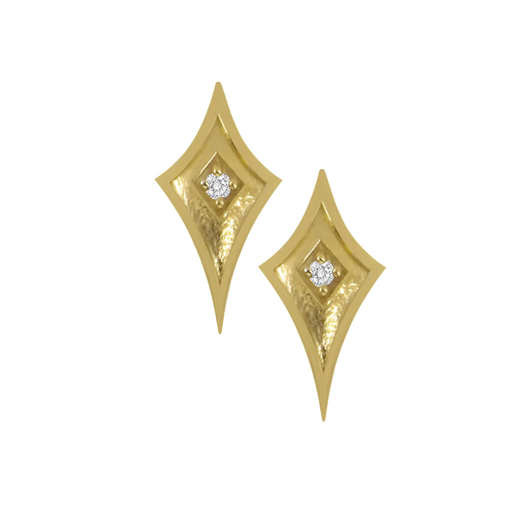 Yellow Gold Shield Studs with Diamond