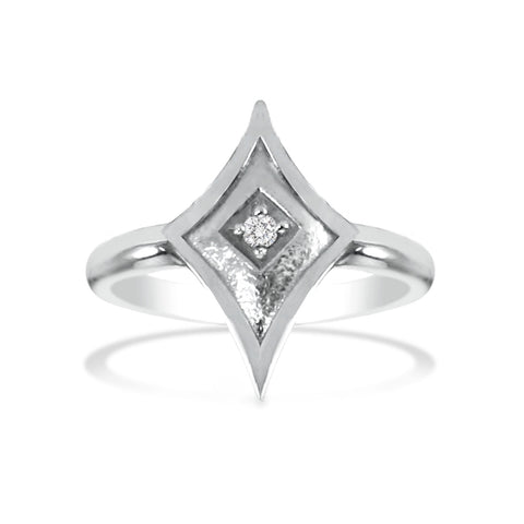 White Gold Shield Ring with Diamond or Gemstone