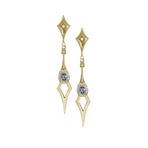 18K Yellow Gold Sapphire & Diamond Statement Earrings