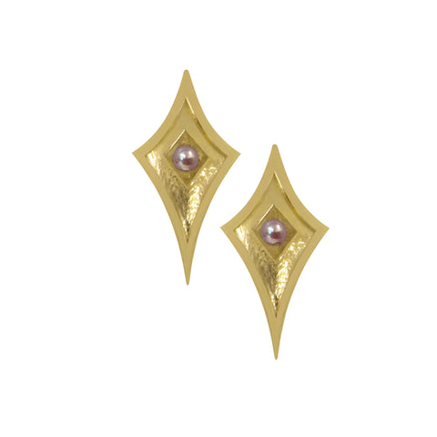 14K Yellow Gold Shield Studs with Pearls