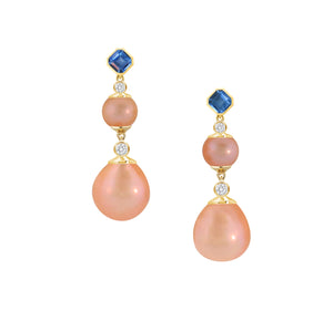 These Statement Earrings in 18 karat yellow gold feature spectacular peachy-pink Kasumiga Pearls, Ceylon Asscher-cut sapphires and sparkling diamonds. Exquisitely crafted in Montreal by K8 Jewelry..
