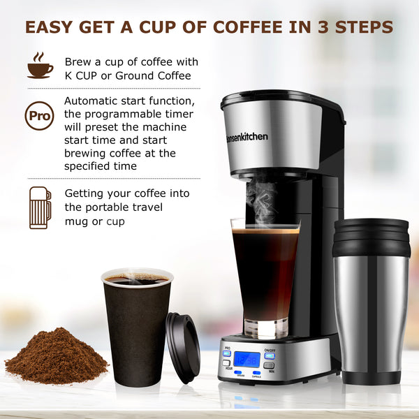 Bonsenkitchen CM8006 Programmable Coffee Makers With Portable Travel Mug