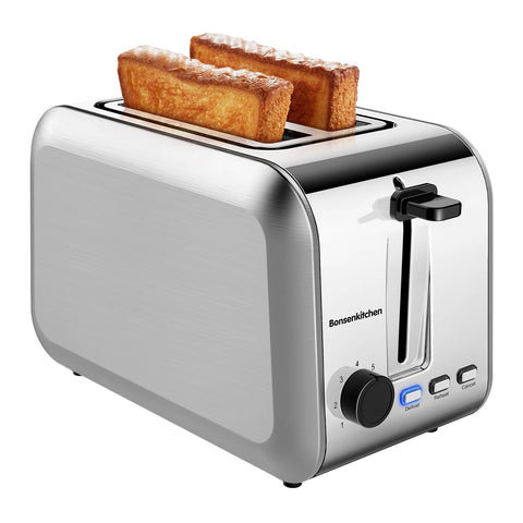 Bonsenkitchen 2-Slice Stainless Wide Slot Toaster TA8902