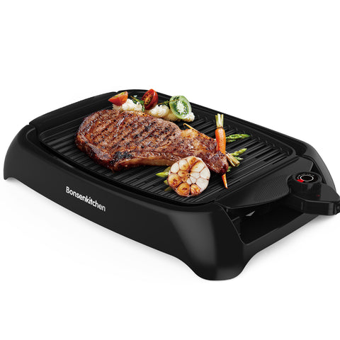 Bonsenkitchen GV8001 Smokeless Electric BBQ Grill with Non-Stick Surface