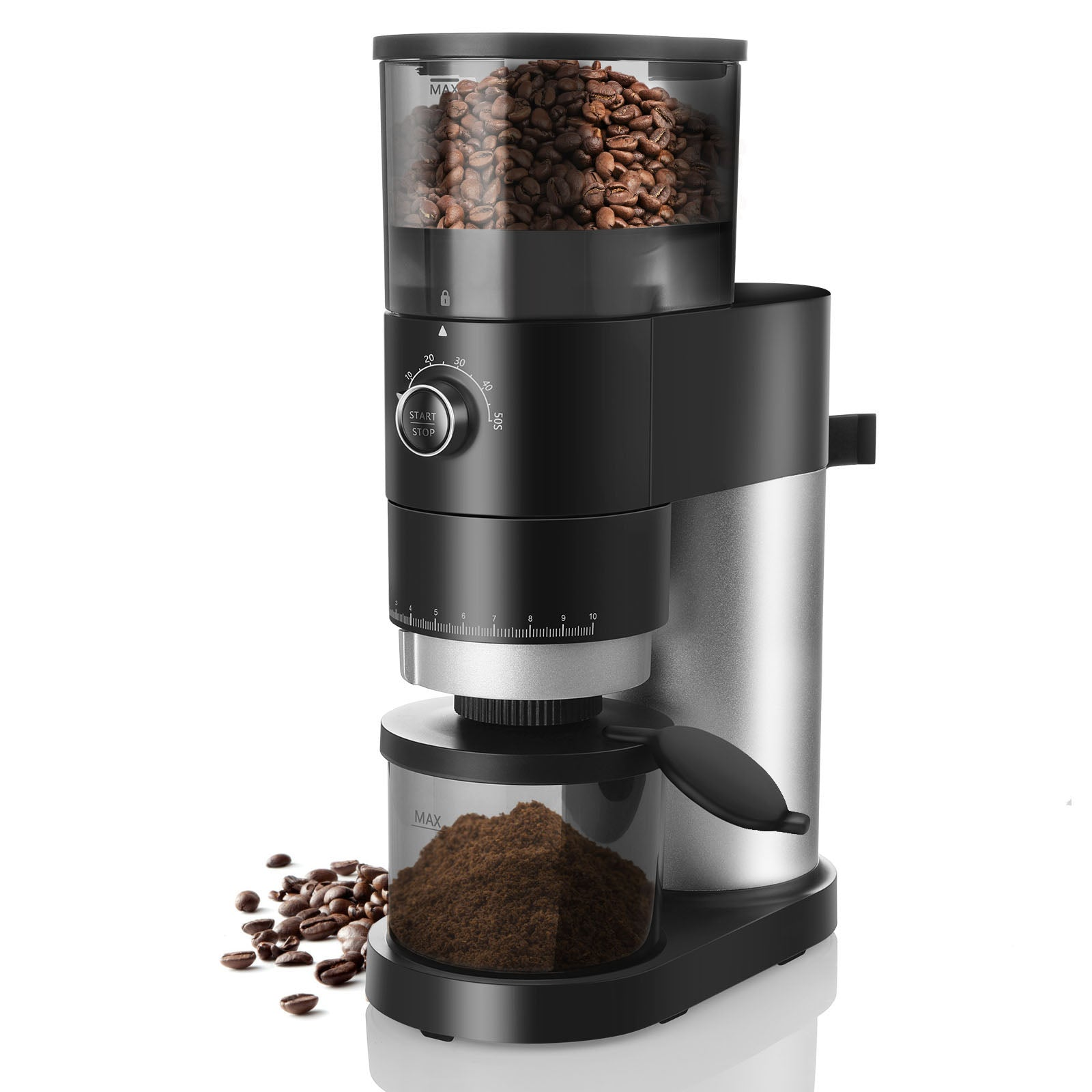 Bonsenkitchen CG8001 Conical Burr Coffee Grinder ,Automatic Electric Burr Mill Coffee Grinder