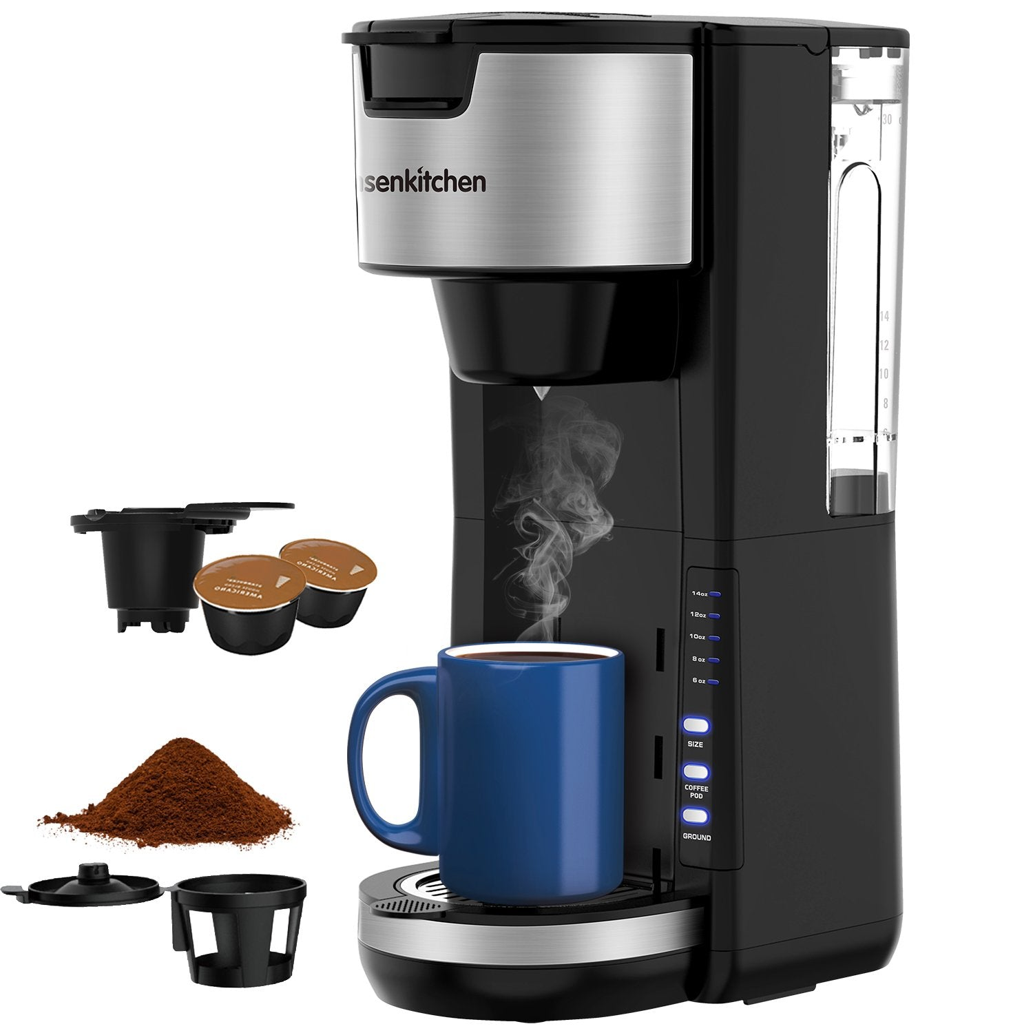 Bonsenkitchen CM8901 2 in 1 Compact and Durable K-Cup Coffee Maker