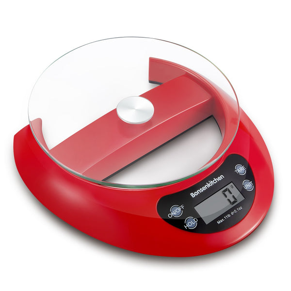 Bonsenkitchen KS8802 Digital Kitchen Food Scales with Glass Tray