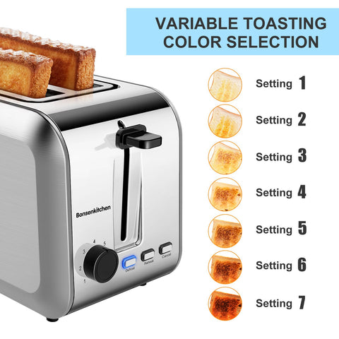 Bonsenkitchen TA8902 2-Slice Stainless Wide Slot Toaster
