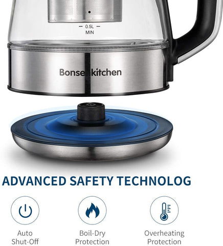 Bonsenkithcen Electric Glass Tea Kettle