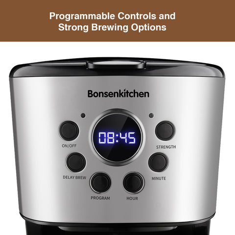 Bonsenkitchen CM8004 10-Cup Programmable Coffee Maker 50oz