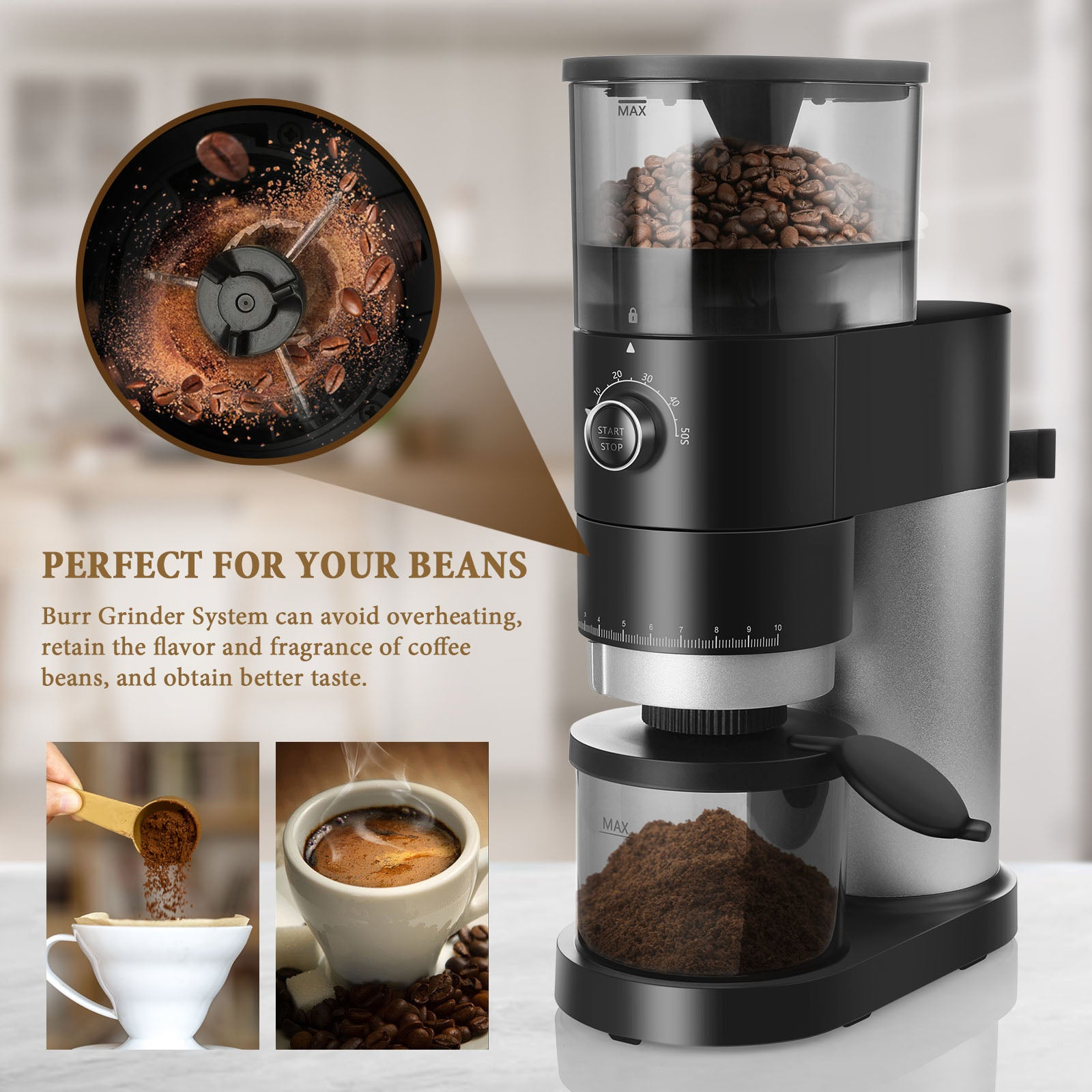 Bonsenkitchen Cg8001 Conical Burr Coffee Grinder Automatic Electric B